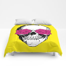 Skull and Roses | Yellow and Pink Comforters