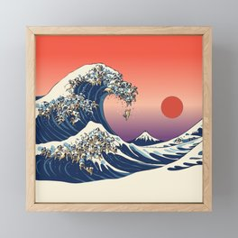 The Great Wave of Pugs / Square Framed Mini Art Print