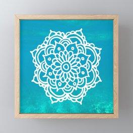 Serene Mandala Turquoise Blue Ocean Framed Mini Art Print