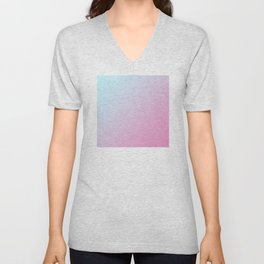 Pastel Light Pale Cyan Blue and Soft Light Pink Gradient Ombré  Unisex V-Neck