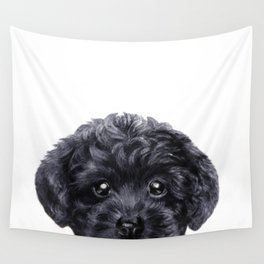 Black toy poodle Dog illustration original painting print Wall Tapestry