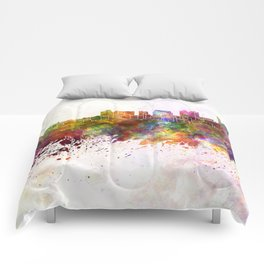 Dayton skyline in watercolor background Comforters