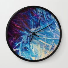 NIGHT FLOWERS - Beautiful Midnight Florals Feathers, Eggplant Lilac Periwinkle Cream Modern Abstract Wall Clock