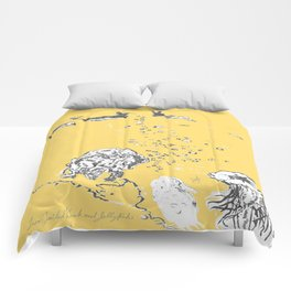 Two Tailed Duck and Jellyfish Pale Yellow Mellow Comforters