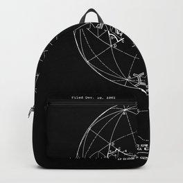 Buckminster Fuller 1961 Geodesic Structures Patent - White on Black Backpack
