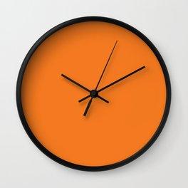 Fluorescent Neon Orange   Solid colour Wall Clock