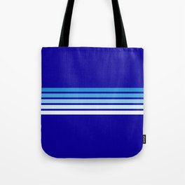 Retro Stripes on Blue Tote Bag