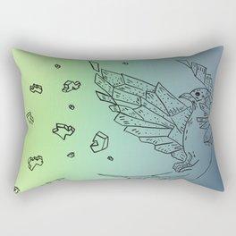 Exploding Origami Bird In Blue, Green,and Yellow Rectangular Pillow