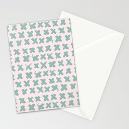 Contemporary X Paint Cross stich Pink Mint Pattern Stationery Cards