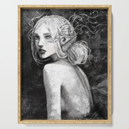 Lavellan black and white Serving Tray