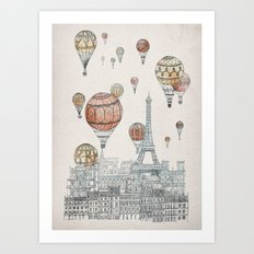 Voyages Over Paris Art Print