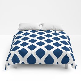 Dark blue and white curved lines pattern Comforters