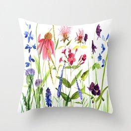 Botanical Colorful Flower Wildflower Watercolor Illustration Deko-Kissen