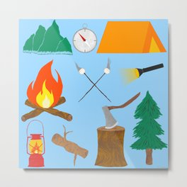 Let's Explore The Great Outdoors - Light Blue Metal Print
