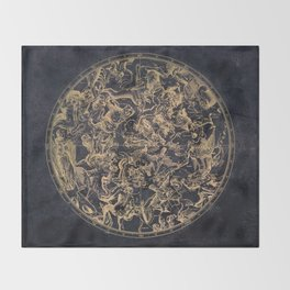 Vintage Constellations & Astrological Signs   Yellowed Ink & Cosmic Colour Throw Blanket