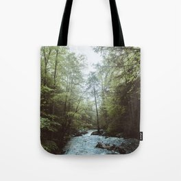 Peaceful Forest, Green Trees and Creek, Relaxing Water Sounds Tote Bag