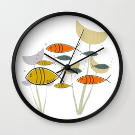 Mid Century Modern Fish, Marine Life Wall Clock