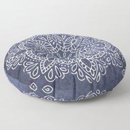 Mandala Vintage White on Ocean Fog Gray Floor Pillow