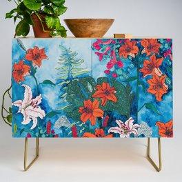 Blue Jungle of Orange Lily and Pink Trumpet Vine Floral Credenza