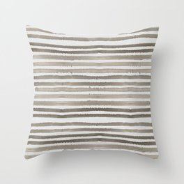 Simply Shibori Stripes Earth Brown on Lunar Gray Throw Pillow
