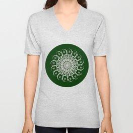 Mandala #104, Deep Green and White Unisex V-Neck