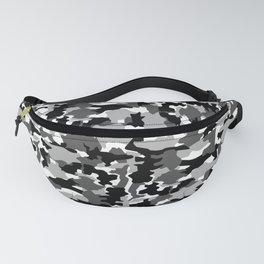 black and white Background Pattern Camo Fanny Pack