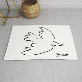 Pablo Picasso Dove of Peace Line Drawing Sketch Artwork for Prints Posters Tshirts Men Women Kids Rug