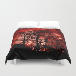 black trees red space Duvet Cover