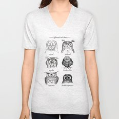 Caffeinated Owls Unisex V-Neck