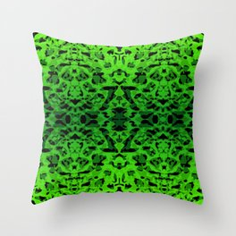 Mirror ornament of green spots and velvet blots on black. Throw Pillow