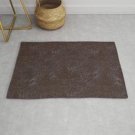 Brown Cracking  Leather-Look Rug