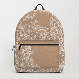 Modern white hand drawn floral illustration on rustic beige faux kraft color block Backpack