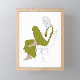 Green Dress Bench Fashion Girl Framed Mini Art Print