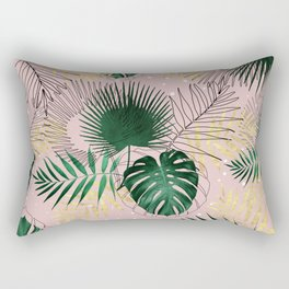 Modern gold tropical leaves and doddles design Rectangular Pillow