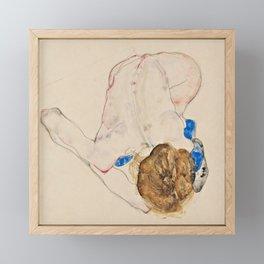 "Egon Schiele ""Nude with Blue Stockings, Bending Forward"" Framed Mini Art Print"