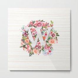 Initial Letter W Watercolor Flower Metal Print