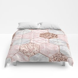 Rose gold dreaming - marble hexagons Comforters