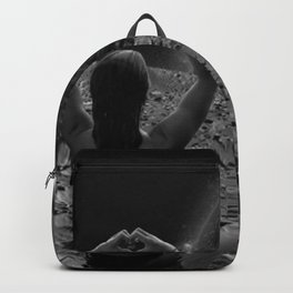 Wish You Were Here - With Love - girl on the moon making heart sign black and white photography Backpack