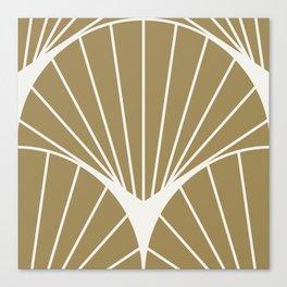 Diamond Series Round Sun Burst White on Gold Canvas Print