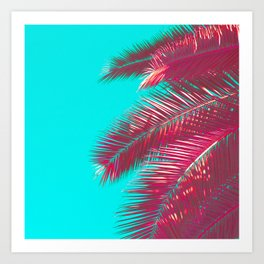 Neon Palm Tree Fronds Art Print