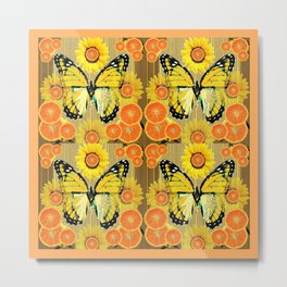 YELLOW MONARCH BUTTERFLY & ORANGES MODERN ART Metal Print