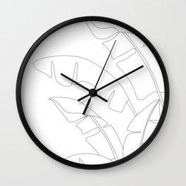 Minimal Line Art Banana Leaves Wall Clock