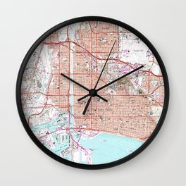 Vintage Map of Long Beach California (1964) Wall Clock