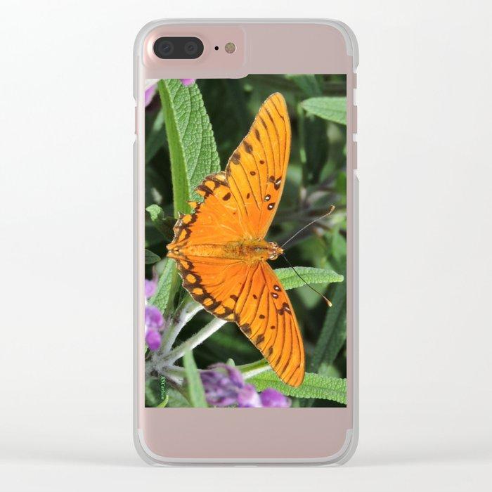 A Gulf Fritillary Shows Wear and Tear Clear iPhone Case