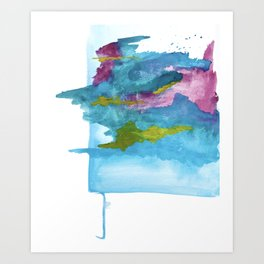 Salt Water Dreams: a vibrant abstract watercolor piece in blue, pink and yellow Art Print