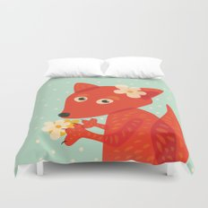 Cute Fox And Flowers Duvet Cover
