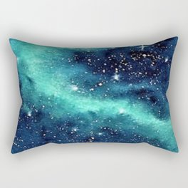 Northern Lights galaxy watercolor landscape painting Rectangular Pillow