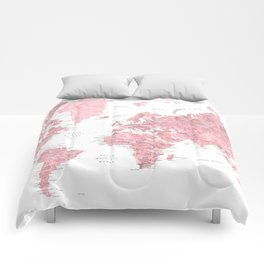Light pink, muted pink and dusty pink watercolor world map with cities Comforters