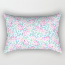 Lipstick Pink Roses and Butterflies Rectangular Pillow