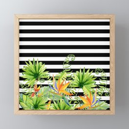 Tropical Chic Florals And BW Stripes Framed Mini Art Print